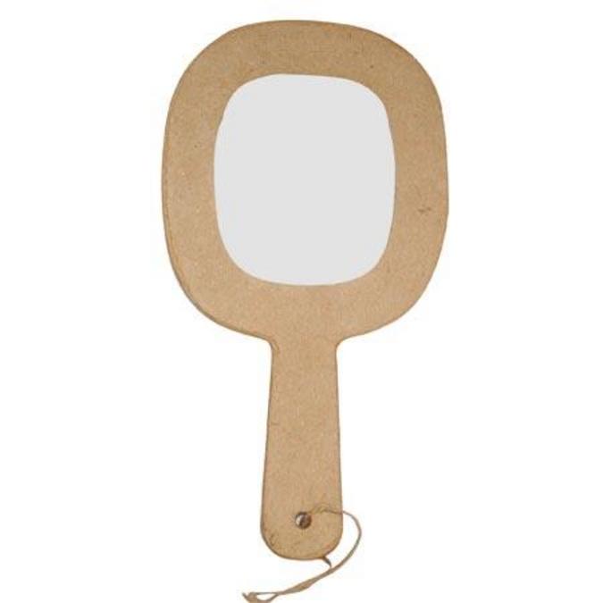Objet en papier mâché miroir à main avec cordon 21,5 cm