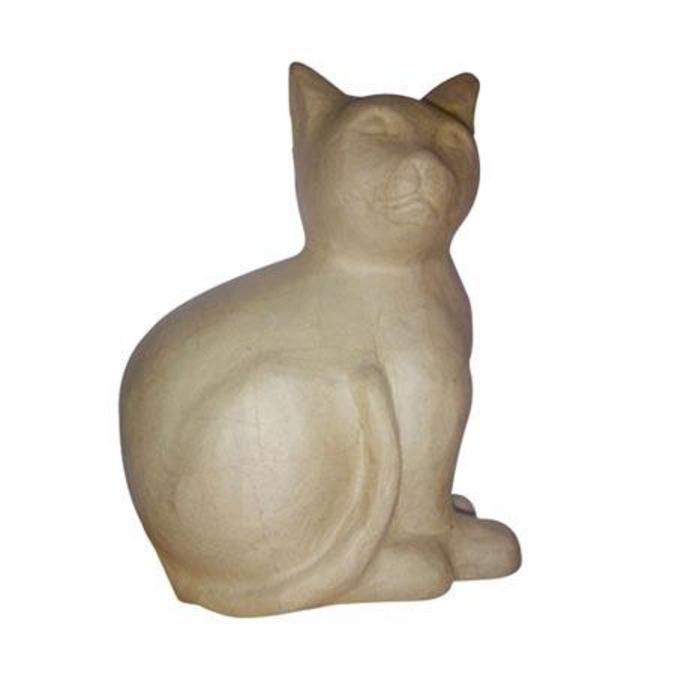 Objet en papier mâché chat assis 26 cm