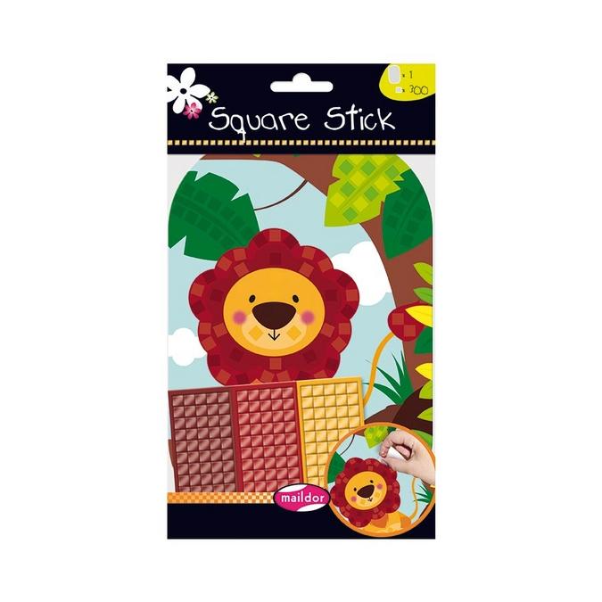 Stickers mosaïque Square Stick - thème lion