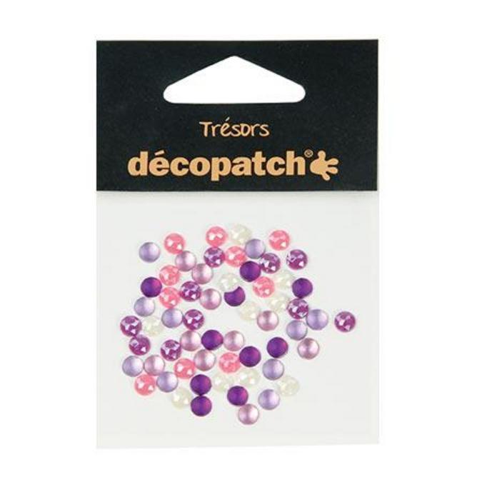 Cabochons rond - 0,5 cm rose/violet 60 pces