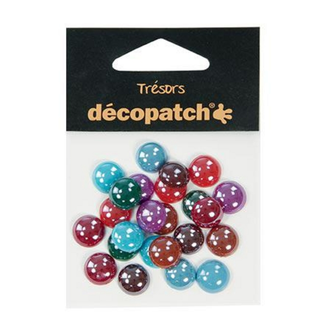 Cabochons ronds 1 cm Pearl Flashy 24 pces