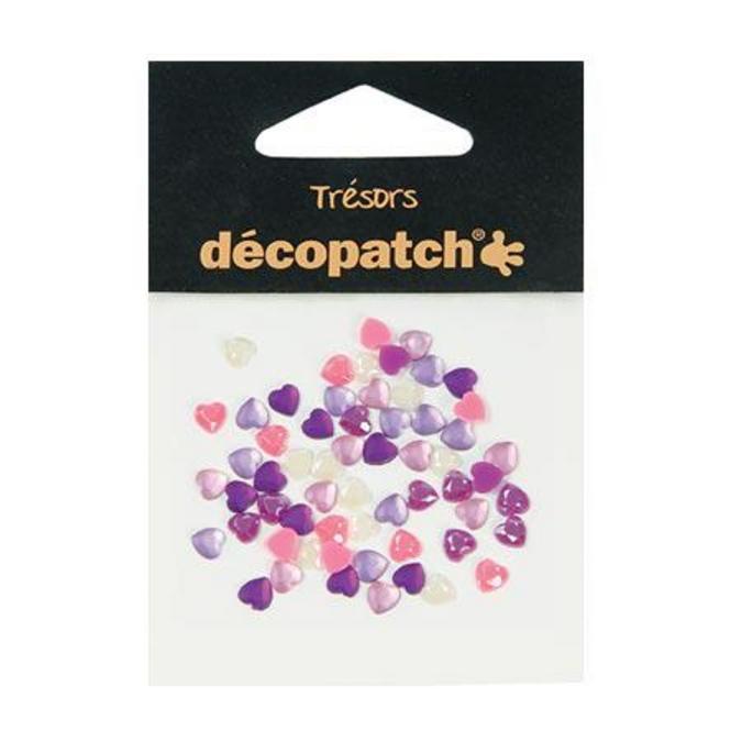 Cabochons cœur rose/violet 0,5 cm 60 pces