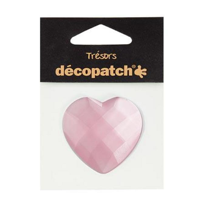 Cabochon cœur rose 4,5 cm