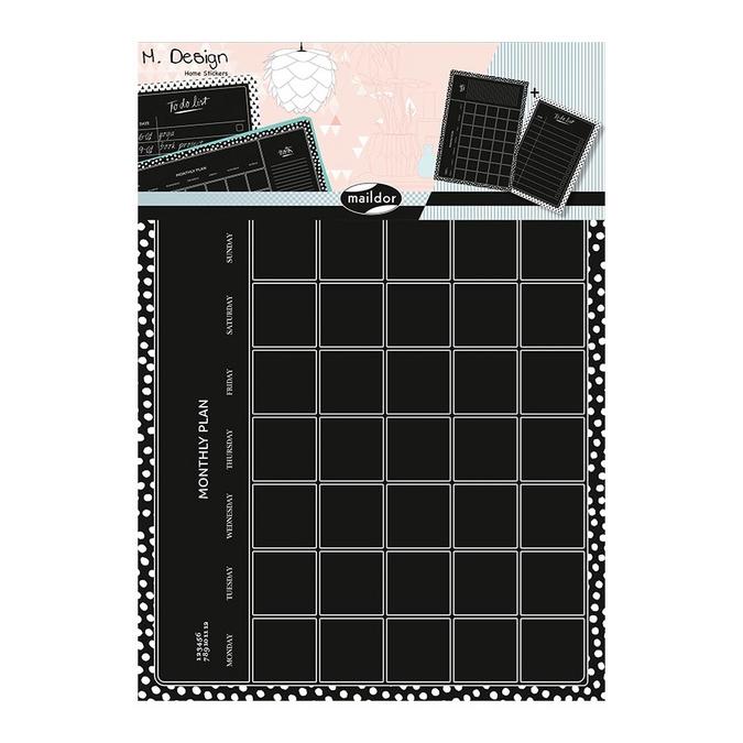 Stickers muraux M.Design organisation mensuelle ardoise 2 planches