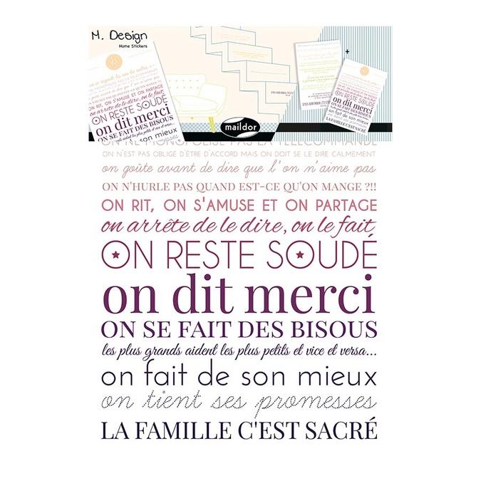 Stickers muraux M.Design règles de vie 2 planches