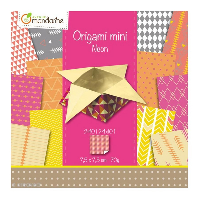 Origami mini Néon 7,5 x 7,5 cm 240 feuilles