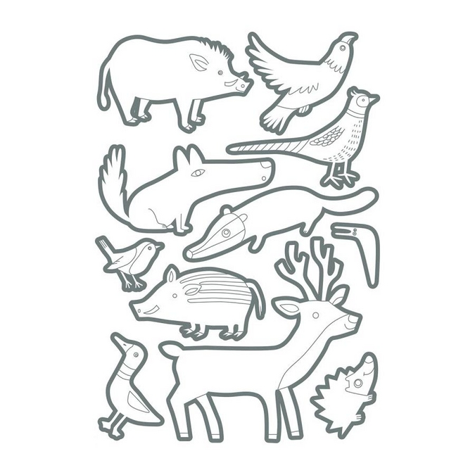 Gommettes Color animaux de la Forêt x 60 pcs