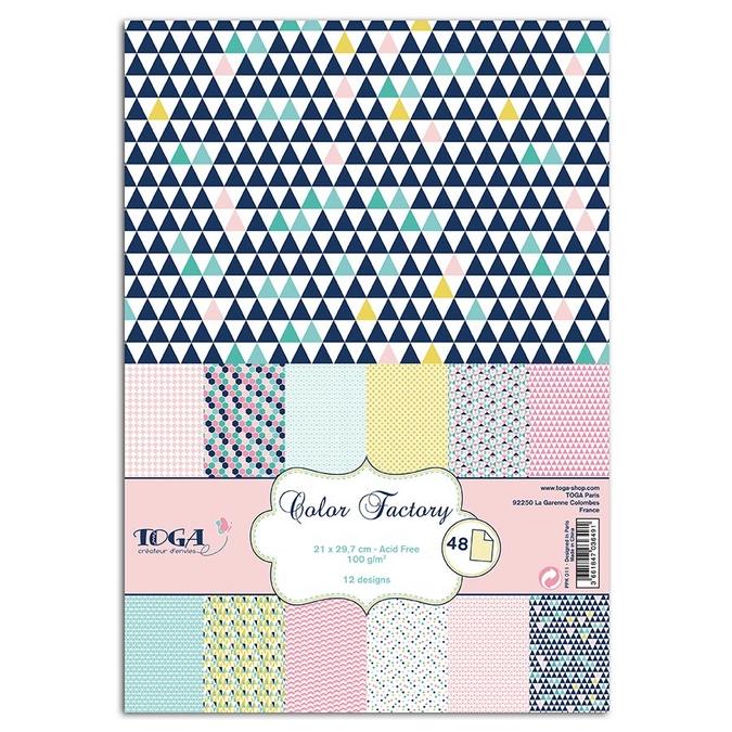 Bloc de papier Color Factory géométrique pastel A4 - 48 feuilles