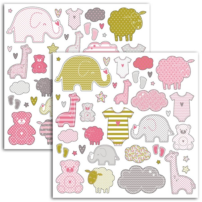 Stickers thème naissance fille - 2 planches