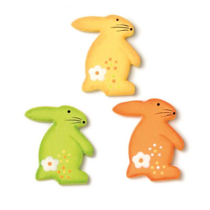 Lapins en bois vert, jaune, orange - 9 pièces
