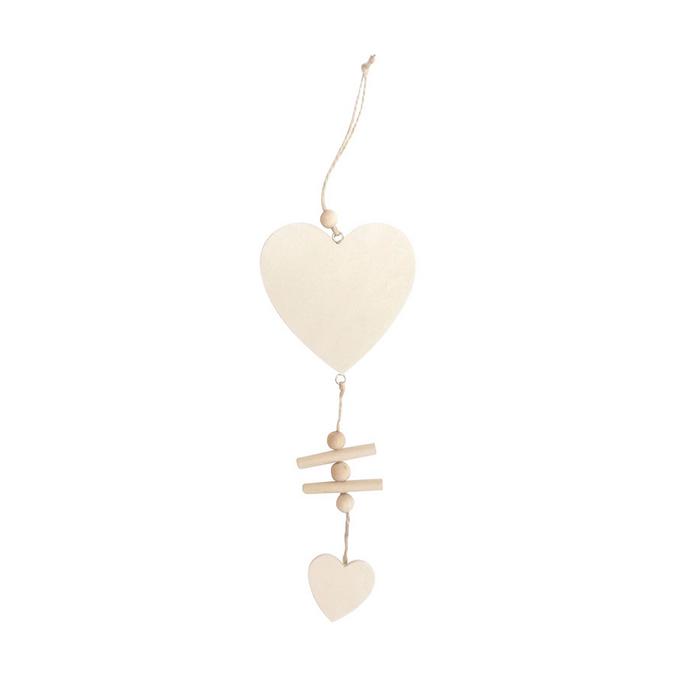 Coeur en bois à susprendre 17 cm