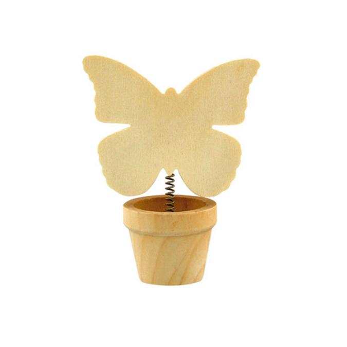 Marque place en bois pot de fleur papillon pince 7,5 x 4 x 11 cm
