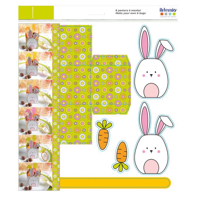 Panier de pâques lapin à assembler - 6 pièces