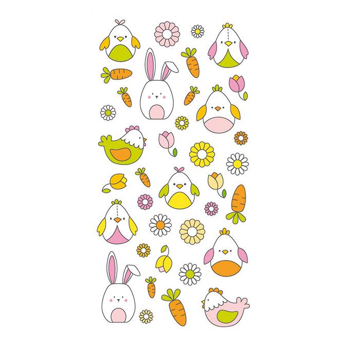 Stickers puffies thème lapin de pâques - 37 pièces