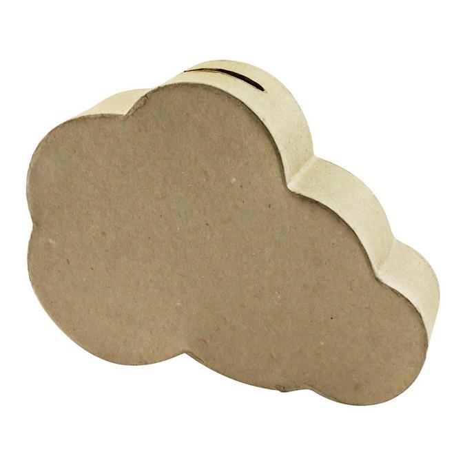 Objet en papier mâché tirelire nuage 12 x 3,5 x 16 cm