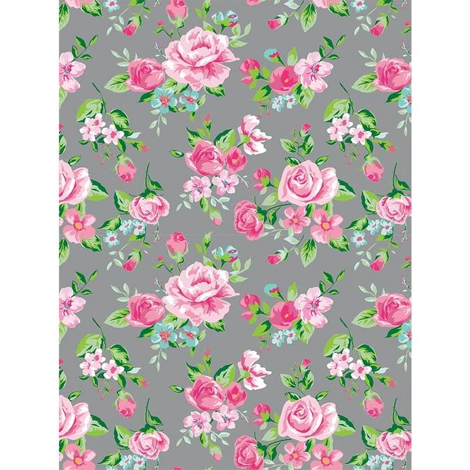 Papier Décopatch 30 x 40cm 716 Rose sur fond gris