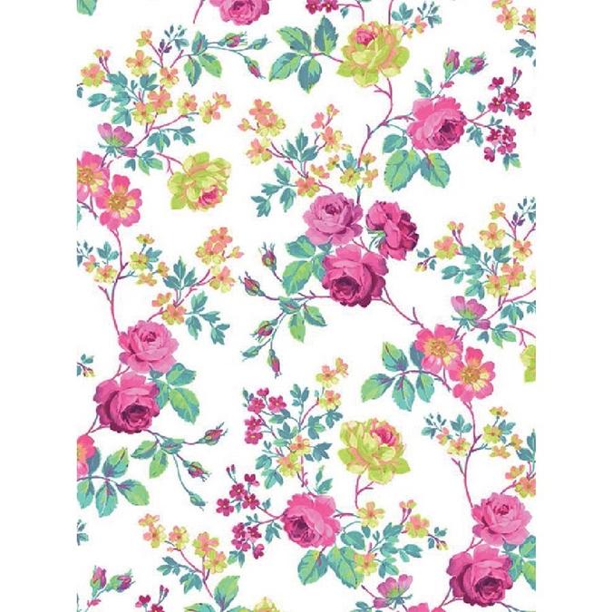 Papier Décopatch 30 x 40cm 718 Rose sur fond blanc