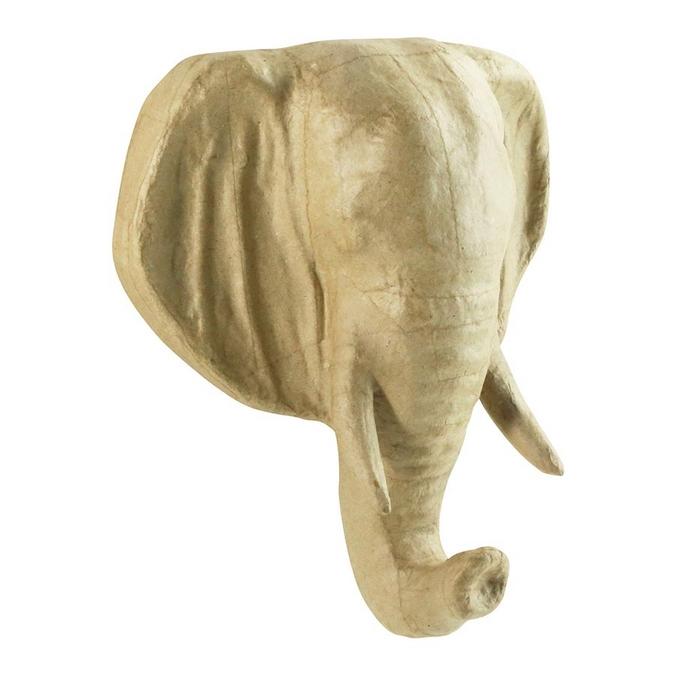 Objet en papier mâché tête éléphant 19 x 8,5 x 23 cm