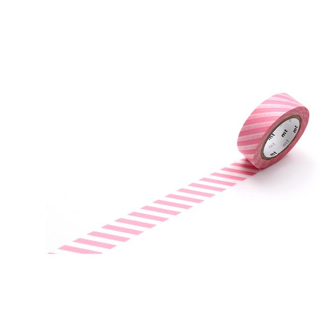 Ruban décoratif adhésif - Motif rayures rose cerisier stripe sakura