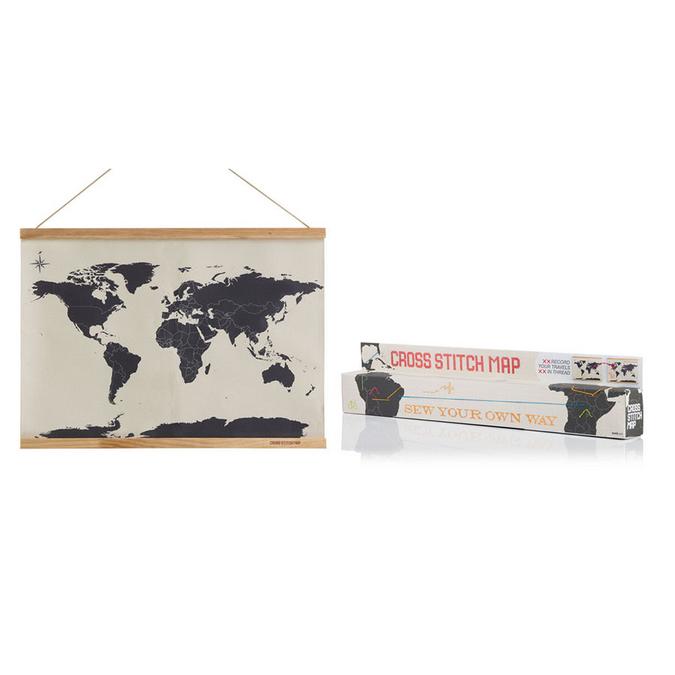 Carte du monde pour point de croix - 59,4 x 45 cm