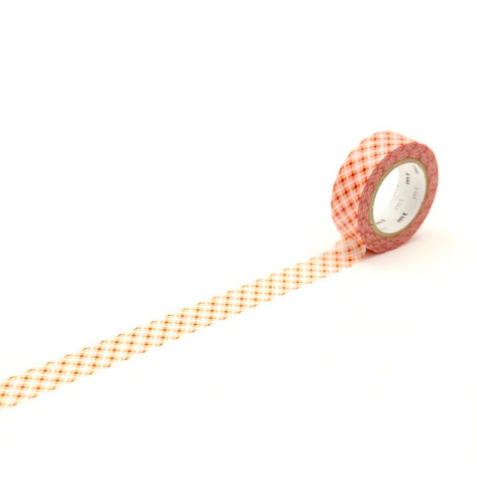 Ruban décoratif adhésif - Motif points rouge Oboro dot fire
