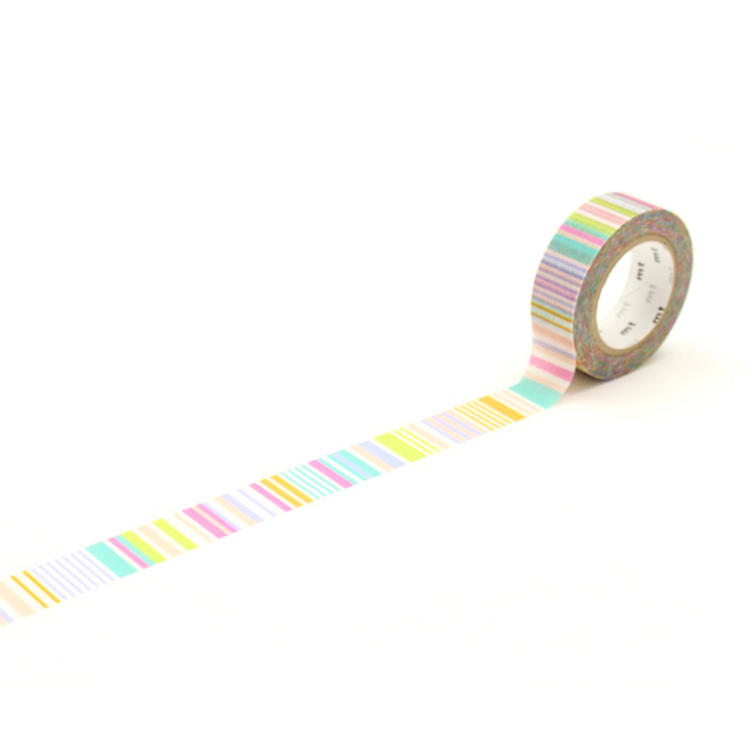 Ruban décoratif adhésif - Motif multi lignes pastel