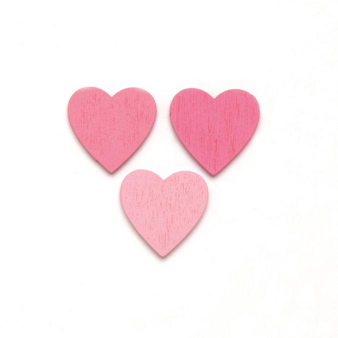 Cœur en bois rose 2 cm par 18