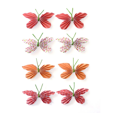 8 stickers papillon rouge effet 3d pw. Black Bedroom Furniture Sets. Home Design Ideas