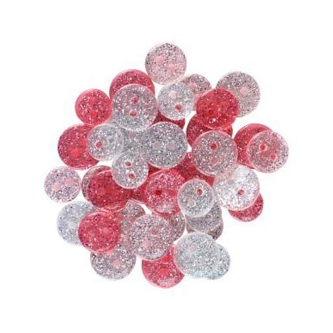 Bouton en acrylique pailleté camaïeu rose par 36