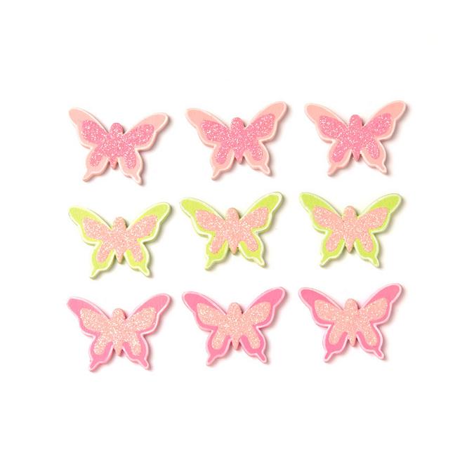 Papillons en bois par 9