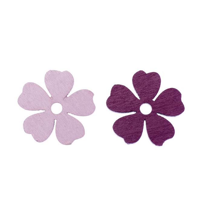 Fleurs en bois rose et bordeaux 3,2 cm par 8