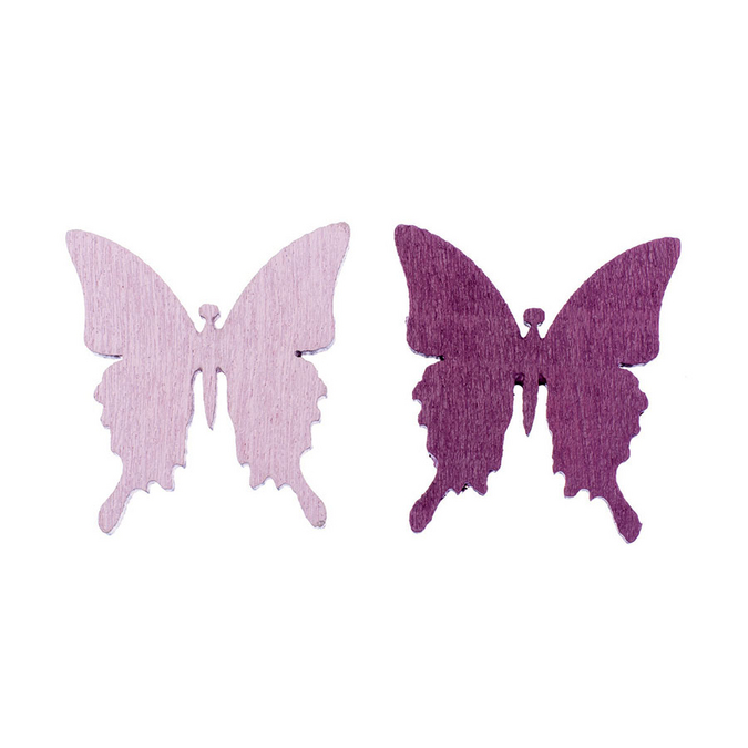 Papillons en bois rose et bordeaux 3 cm par 8