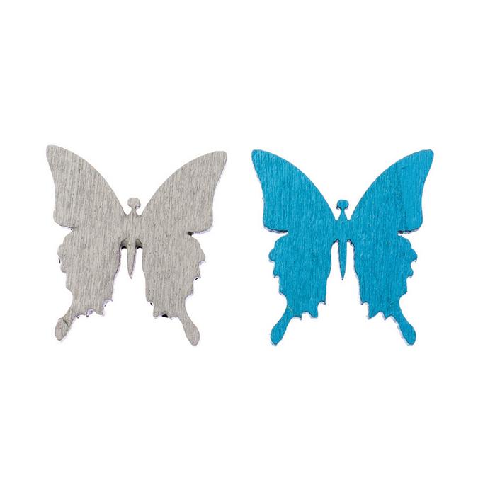 Papillons en bois gris et bleu 3 cm par 8