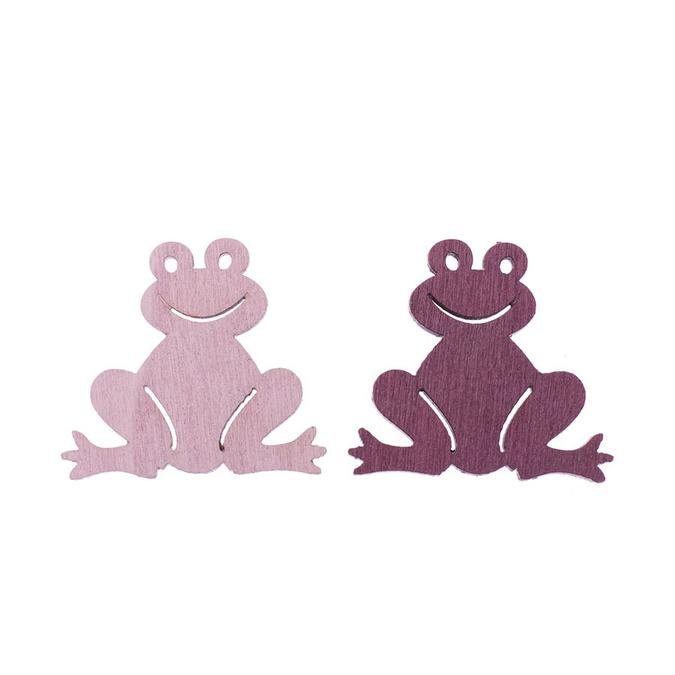 Grenouilles en bois rose et bordeaux 3,8 cm par 8