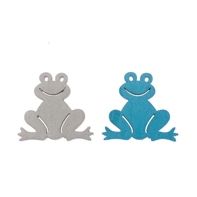 Grenouilles en bois gris et bleu 3,8 cm par 8