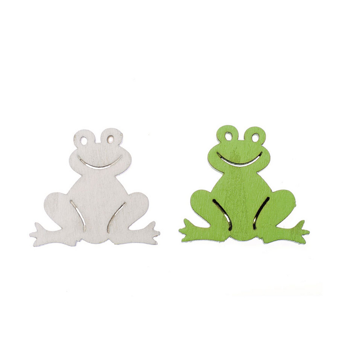 Grenouilles en bois blanc et vert 3,8 cm par 8