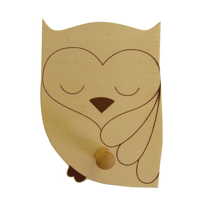 Patère en bois forme chouette cœur 8 x 10,5 x 4,5 cm