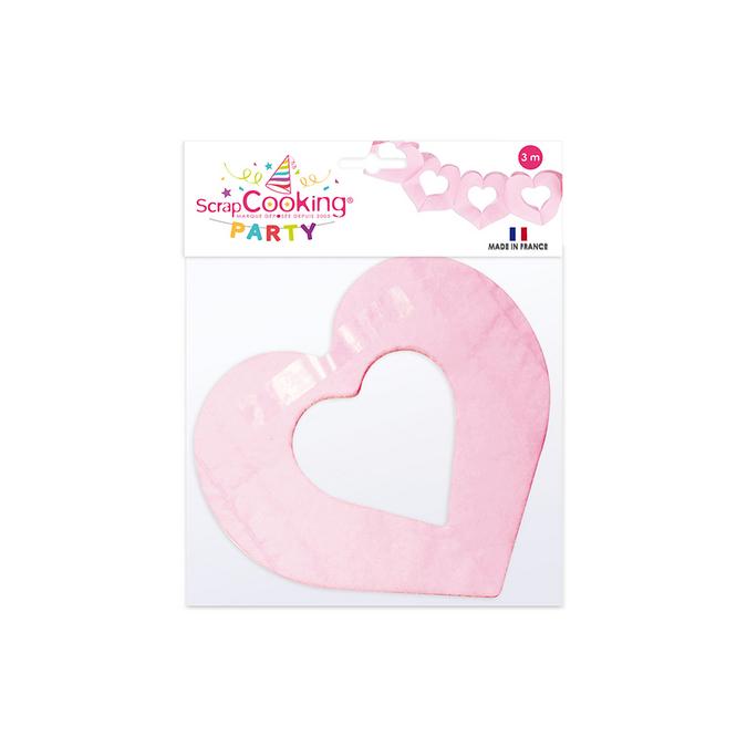 Guirlande cœur roses 3 m