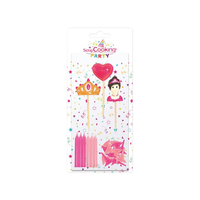 Bougies x 12 + 3 bougies princesse - 5 et 10 cm