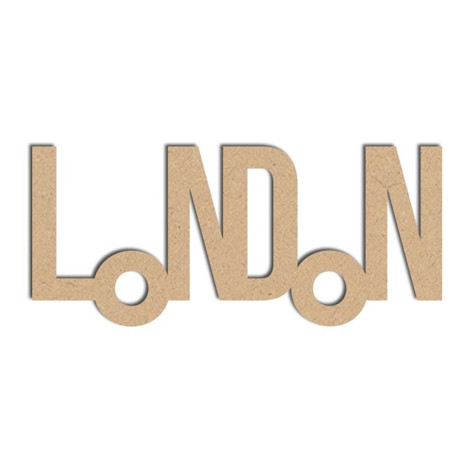 Mot London - Objet en médium 13 x 28 cm