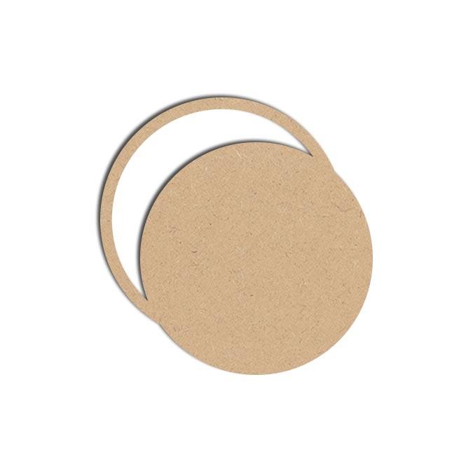 Forme Cadre Rond - Objet en médium 14 x 14 cm