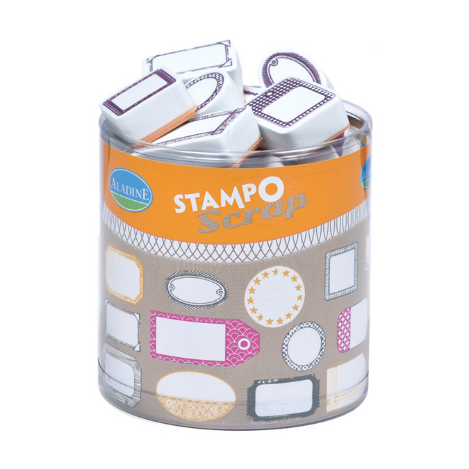 Kit 24 tampons Stampo'scrap étiquettes