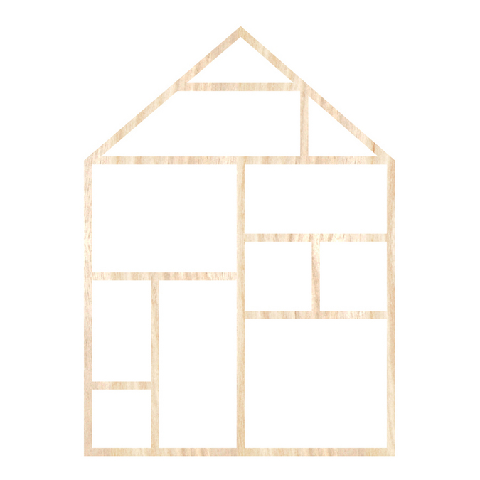 Template maison en bois 19,5 x 27 cm