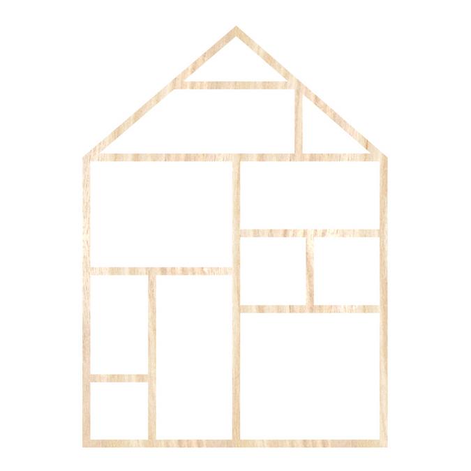 Template maison en bois 19,5 x 27 cm