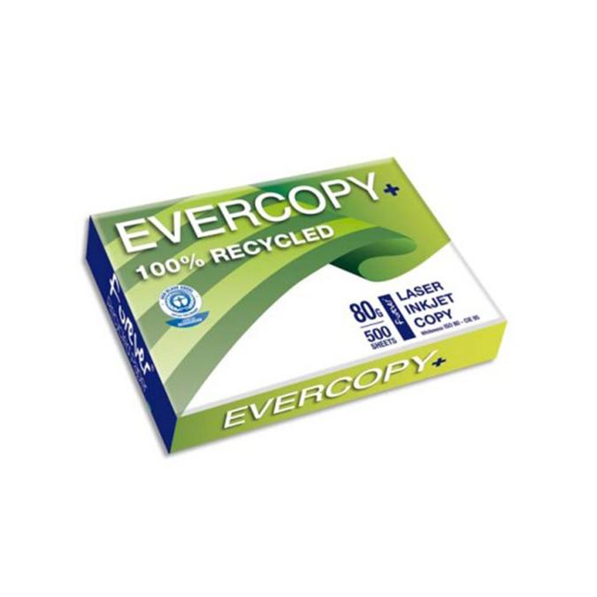 Ramette de papier blanc recyclé Evercopy A4 - 80 g/m² - 500 feuilles