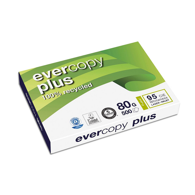 Ramette de papier blanc recyclé Evercopy A3 - 80 g/m² - 500 feuilles