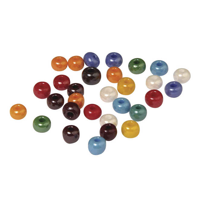 Perles en verre opaque à grand trou multicolore 5,4 mm x 55 g