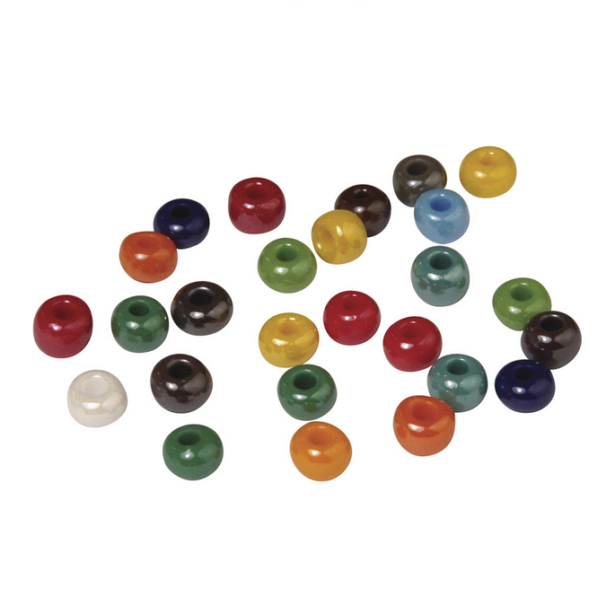 Perles en verre opaque à grand trou multicolore 6 mm x 55 g