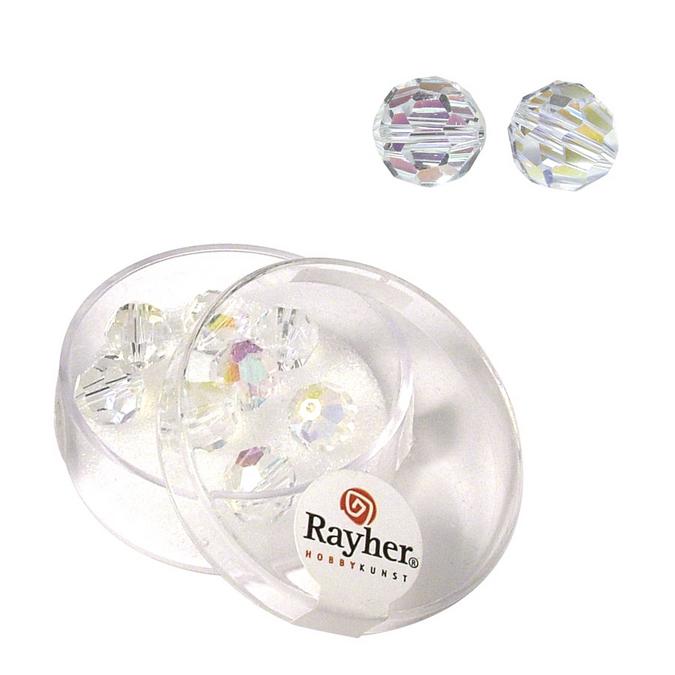 Perles facettées 8 mm en cristal de roche 8 pces