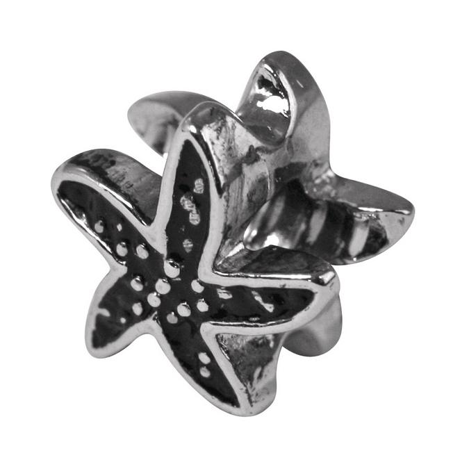 Perle métal argenté vieilli étoile de mer L. 12mm